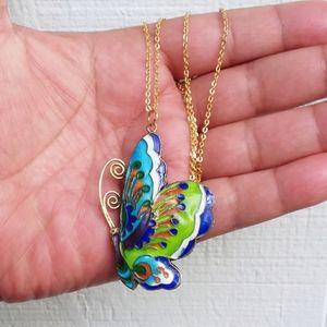 Vintage OOAK Enamel Butterfly Pendant Necklace